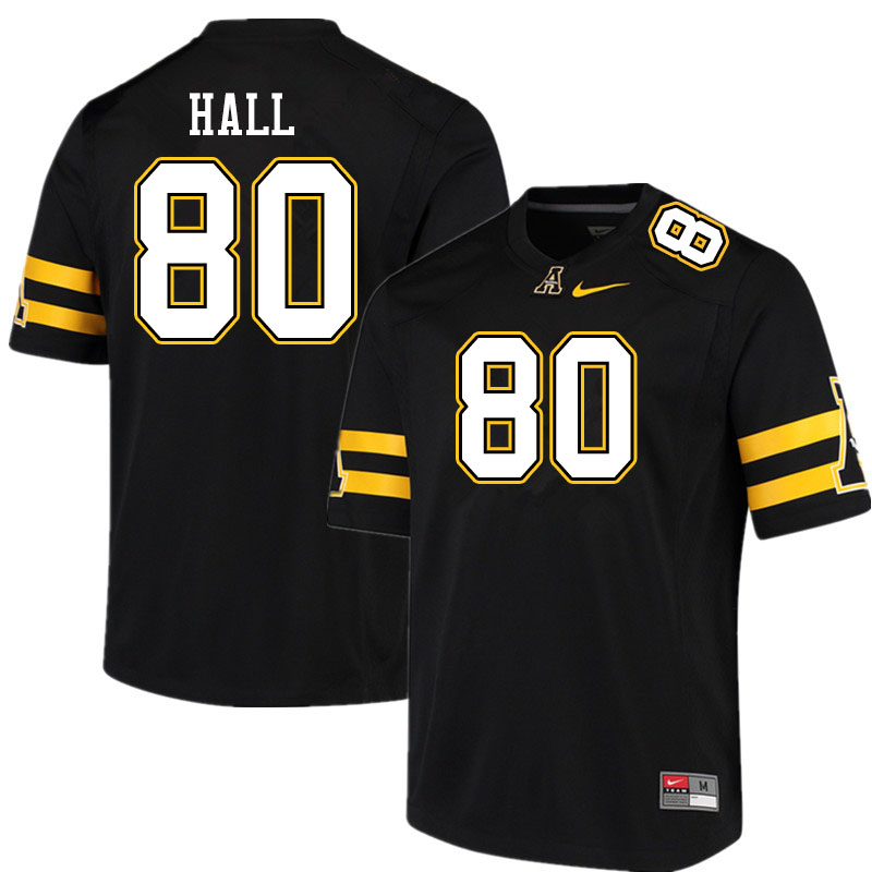 Men #80 AJ Hall Appalachian State Mountaineers College Football Jerseys Sale-Black