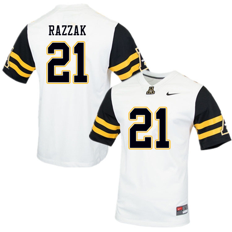 Men #21 Dysaun Razzak Appalachian State Mountaineers College Football Jerseys Sale-White