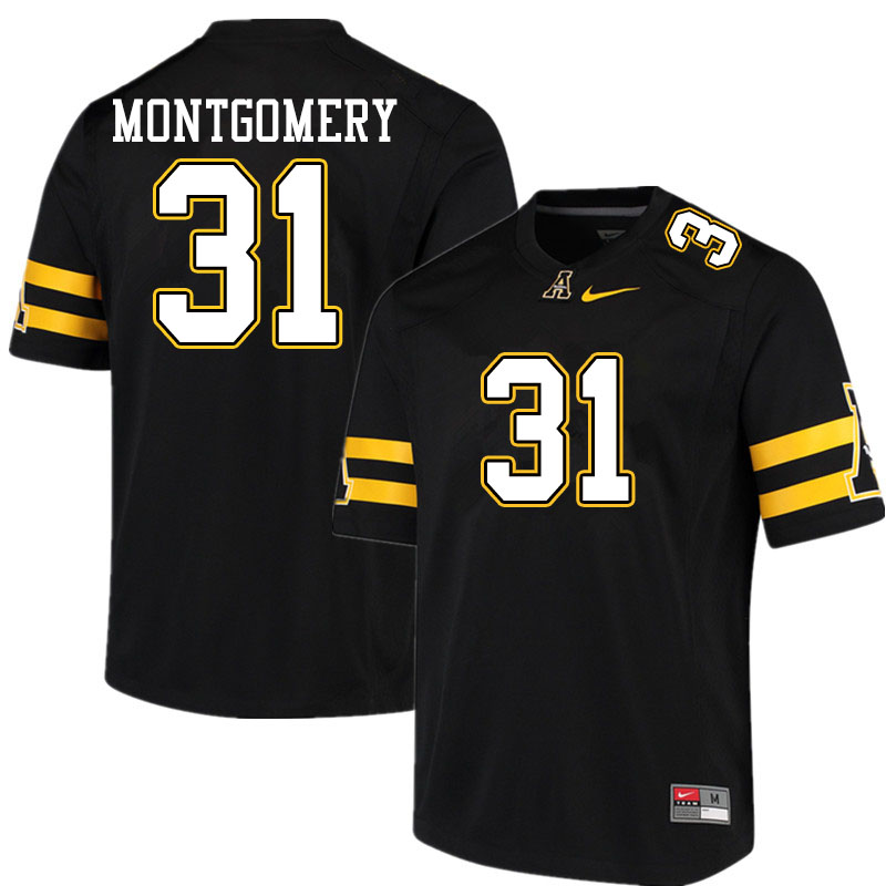 Men #31 Gabe Montgomery Appalachian State Mountaineers College Football Jerseys Sale-Black