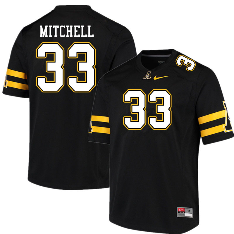 Men #33 Jordan Mitchell Appalachian State Mountaineers College Football Jerseys Sale-Black