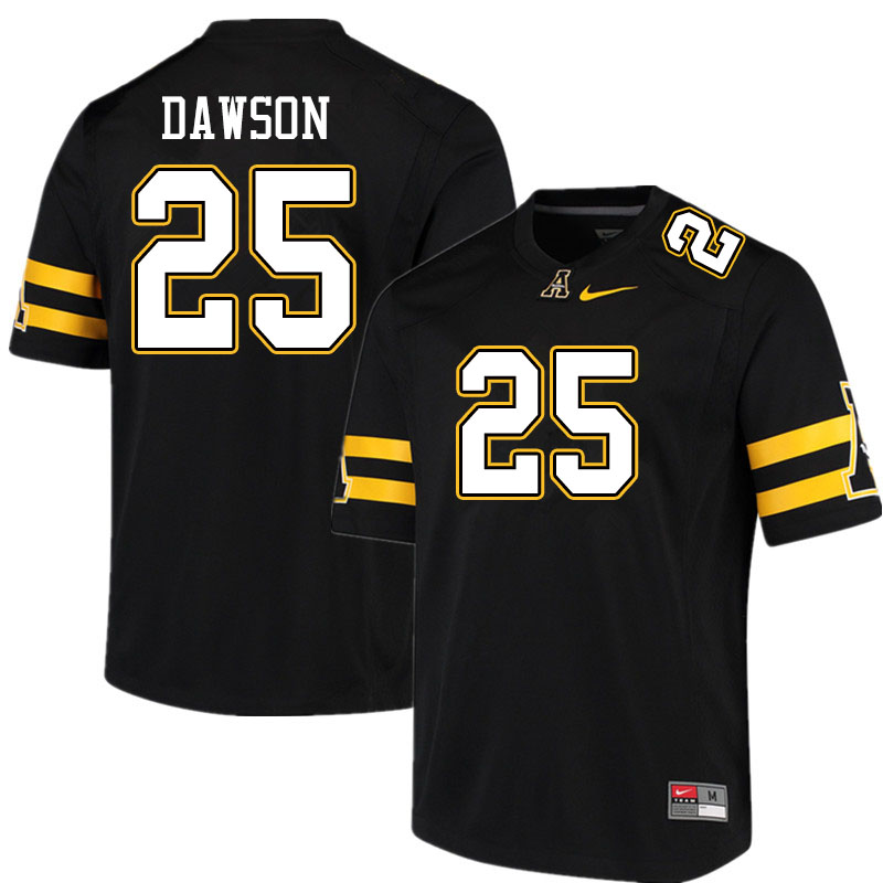 Men #25 Kaleb Dawson Appalachian State Mountaineers College Football Jerseys Sale-Black