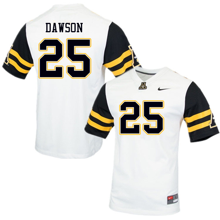 Men #25 Kaleb Dawson Appalachian State Mountaineers College Football Jerseys Sale-White