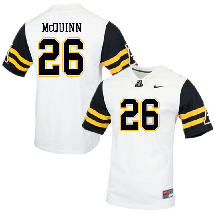 Men #26 Matthew McQuinn Appalachian State Mountaineers College Football Jerseys Sale-White