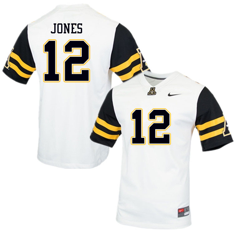 Men #12 Steven Jones Appalachian State Mountaineers College Football Jerseys Sale-White