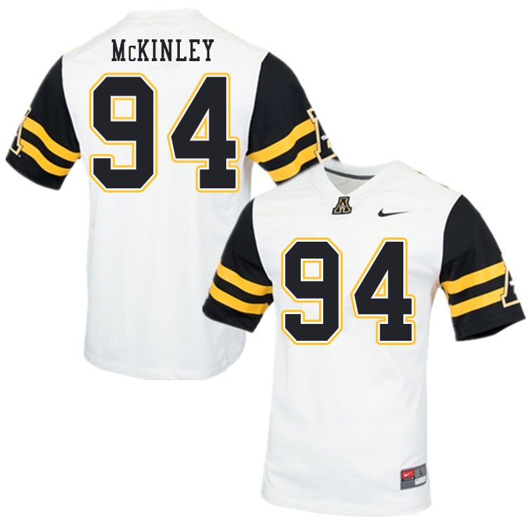 Men #94 Francisco McKinley Appalachian State Mountaineers College Football Jerseys Sale-White