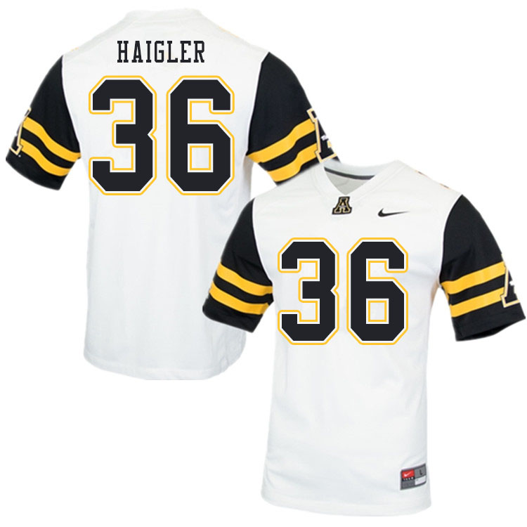 Men #36 Kevon Haigler Appalachian State Mountaineers College Football Jerseys Sale-White