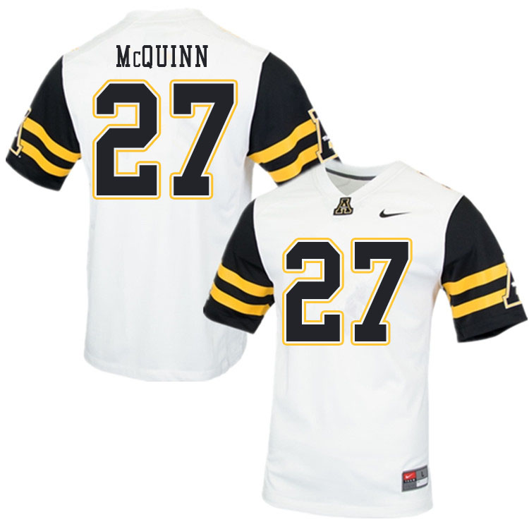 Men #27 Matthew McQuinn Appalachian State Mountaineers College Football Jerseys Sale-White