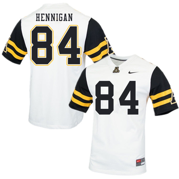 Men #84 Peter Hennigan Appalachian State Mountaineers College Football Jerseys Sale-White
