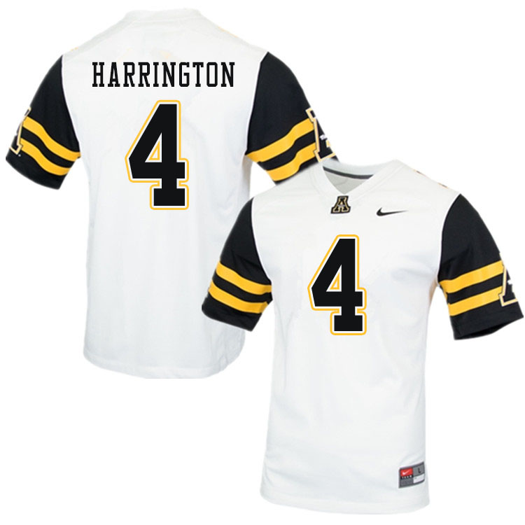 Men #4 Daetrich Harrington Appalachian State Mountaineers College Football Jerseys Sale-White