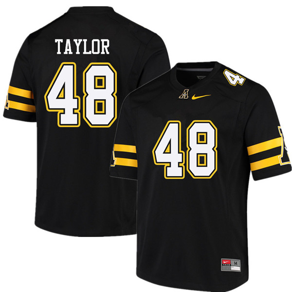 Men #48 Demetrius Taylor Appalachian State Mountaineers College Football Jerseys Sale-Black