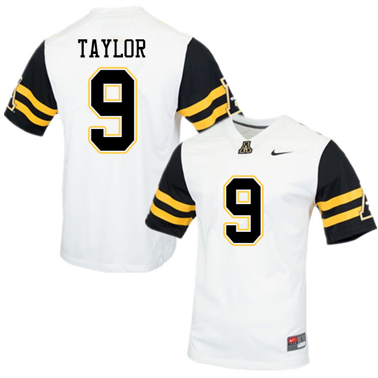 Men #9 Demetrius Taylor Appalachian State Mountaineers College Football Jerseys Sale-White