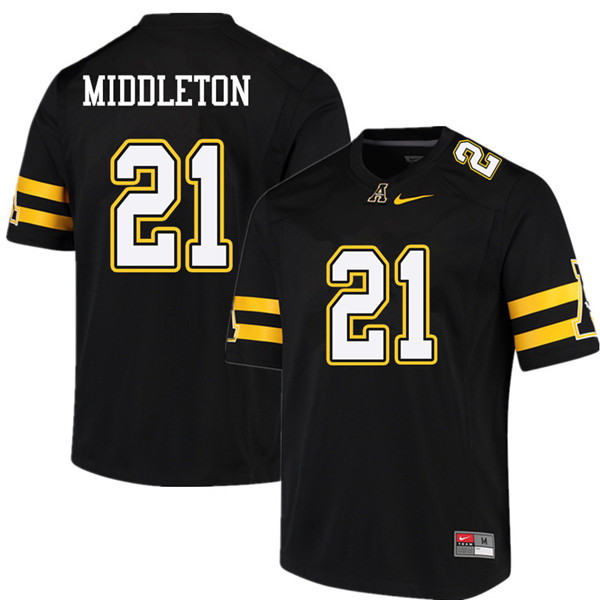Men #21 Doug Middleton Appalachian State Mountaineers College Football Jerseys Sale-Black