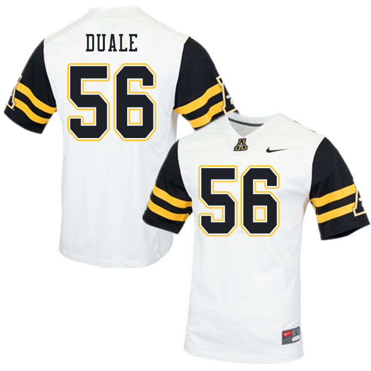 Men #56 Guled Duale Appalachian State Mountaineers College Football Jerseys Sale-White