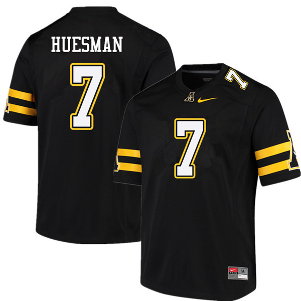 Men #7 Jacob Huesman Appalachian State Mountaineers College Football Jerseys Sale-Black