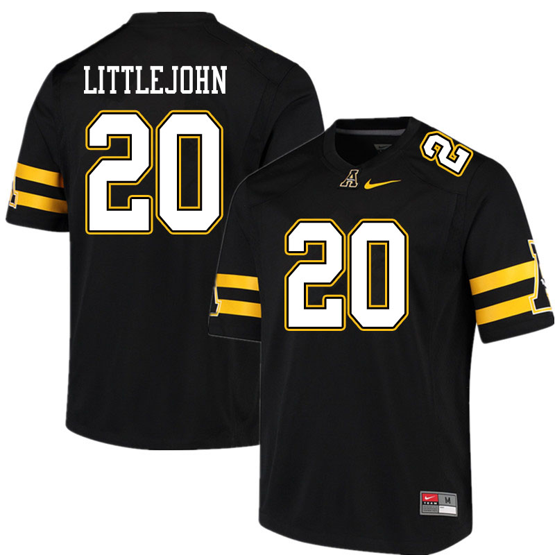 Men #20 Je'Mari Littlejohn Appalachian State Mountaineers College Football Jerseys Sale-Black