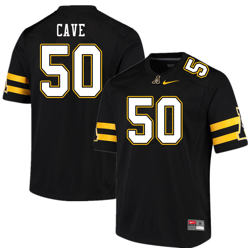 Men #50 Joey Cave Appalachian State Mountaineers College Football Jerseys Sale-Black