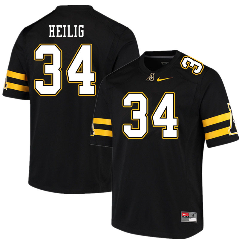 Men #34 Jourdan Heilig Appalachian State Mountaineers College Football Jerseys Sale-Black