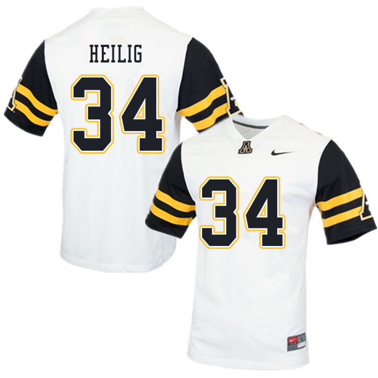 Men #34 Jourdan Heilig Appalachian State Mountaineers College Football Jerseys Sale-White