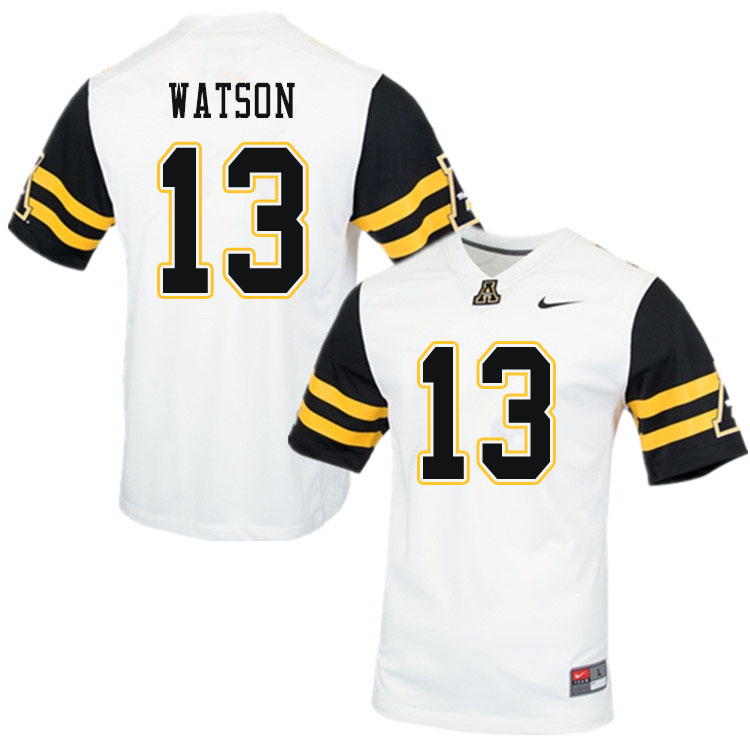 Men #13 Keishawn Watson Appalachian State Mountaineers College Football Jerseys Sale-White