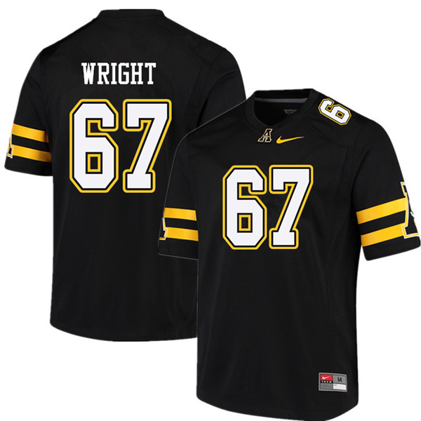 Men #67 Logan Wright Appalachian State Mountaineers College Football Jerseys Sale-Black