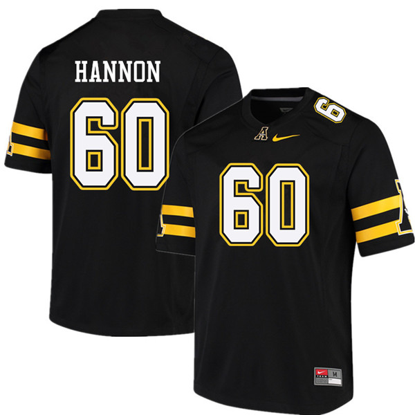 Men #60 Noah Hannon Appalachian State Mountaineers College Football Jerseys Sale-Black