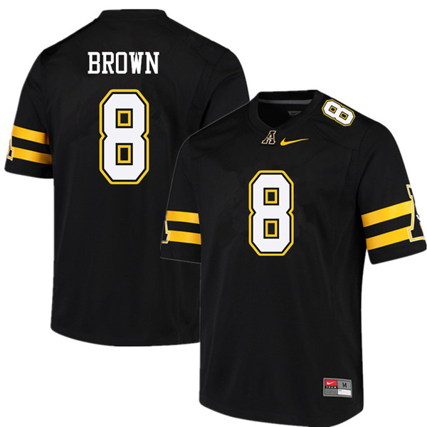 Men #8 Stephon Brown Appalachian State Mountaineers College Football Jerseys Sale-Black