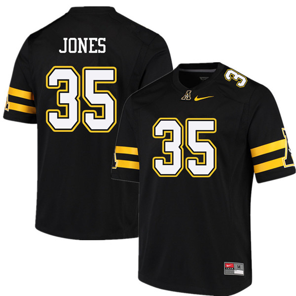 Men #35 Steven Jones Appalachian State Mountaineers College Football Jerseys Sale-Black
