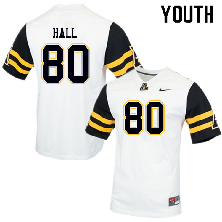 Youth #80 AJ Hall Appalachian State Mountaineers College Football Jerseys Sale-White