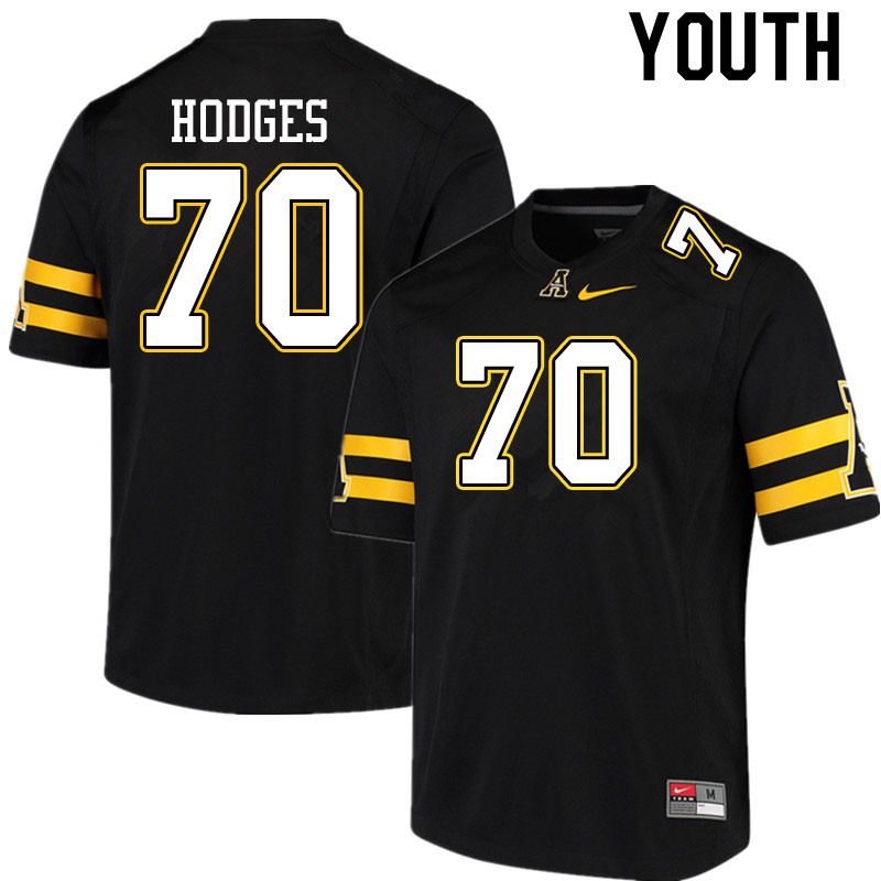 Youth #70 Cooper Hodges Appalachian State Mountaineers College Football Jerseys Sale-Black