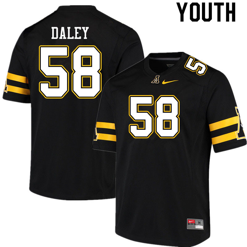 Youth #58 Grant Daley Appalachian State Mountaineers College Football Jerseys Sale-Black