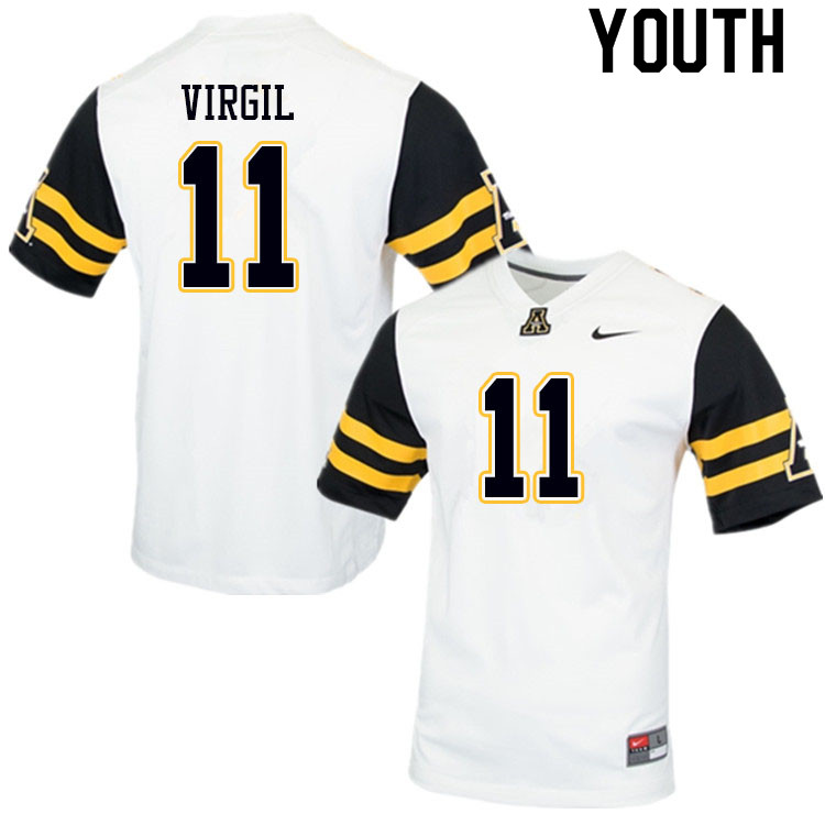 Youth #11 Jalen Virgil Appalachian State Mountaineers College Football Jerseys Sale-White