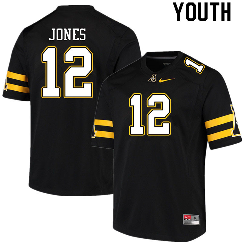 Youth #12 Steven Jones Appalachian State Mountaineers College Football Jerseys Sale-Black