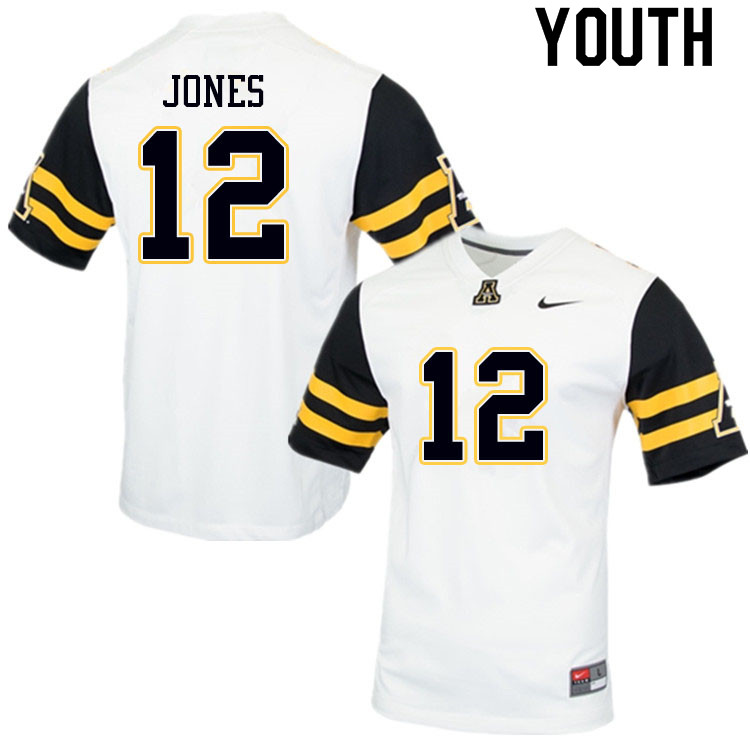 Youth #12 Steven Jones Appalachian State Mountaineers College Football Jerseys Sale-White