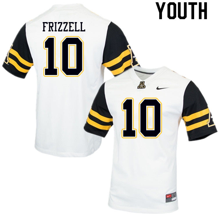 Youth #10 Tim Frizzell Appalachian State Mountaineers College Football Jerseys Sale-White