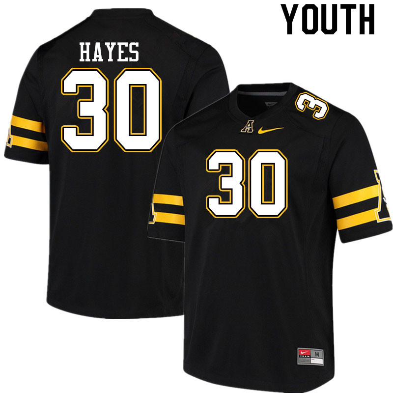 Youth #30 Zareon Hayes Appalachian State Mountaineers College Football Jerseys Sale-Black