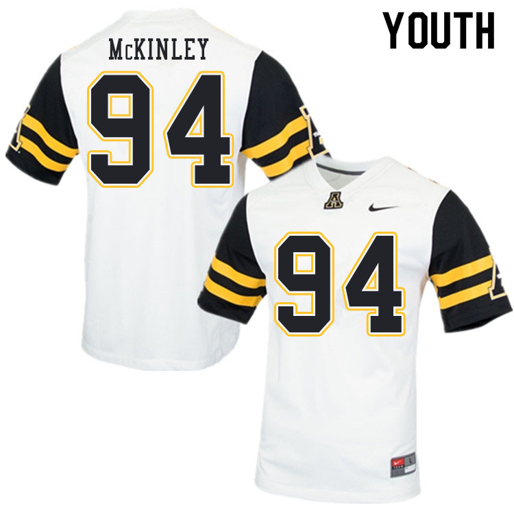 Youth #94 Francisco McKinley Appalachian State Mountaineers College Football Jerseys Sale-White