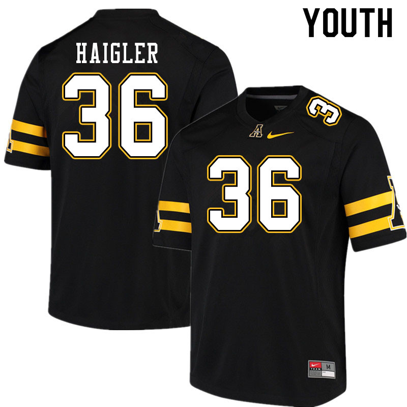 Youth #36 Kevon Haigler Appalachian State Mountaineers College Football Jerseys Sale-Black