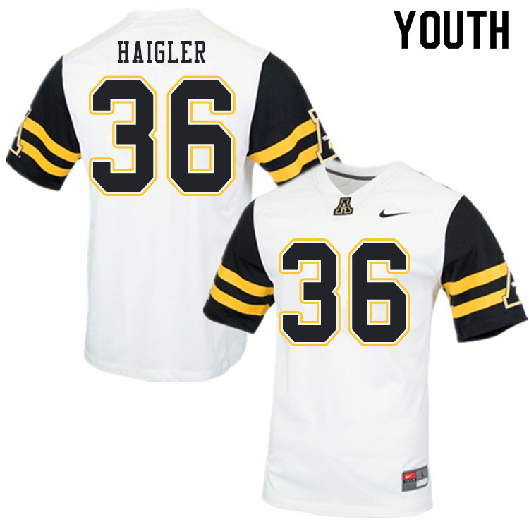 Youth #36 Kevon Haigler Appalachian State Mountaineers College Football Jerseys Sale-White