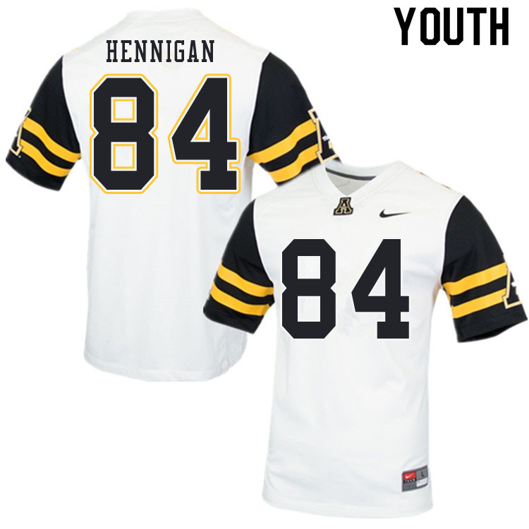 Youth #84 Peter Hennigan Appalachian State Mountaineers College Football Jerseys Sale-White