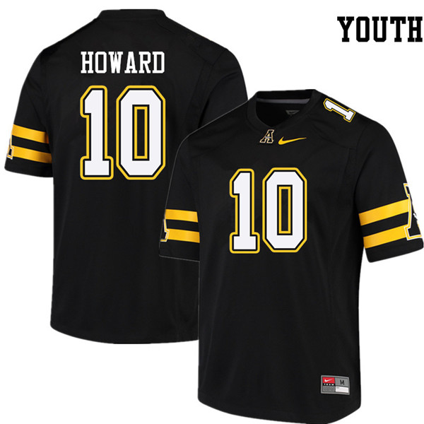 Youth #10 A.J. Howard Appalachian State Mountaineers College Football Jerseys Sale-Black