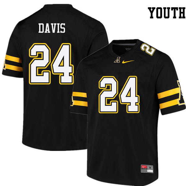 Youth #24 Akeem Davis Appalachian State Mountaineers College Football Jerseys Sale-Black