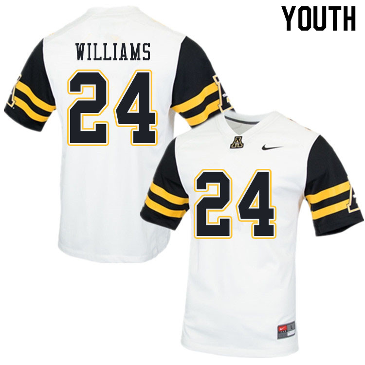 Youth #24 Ben Williams Appalachian State Mountaineers College Football Jerseys Sale-White