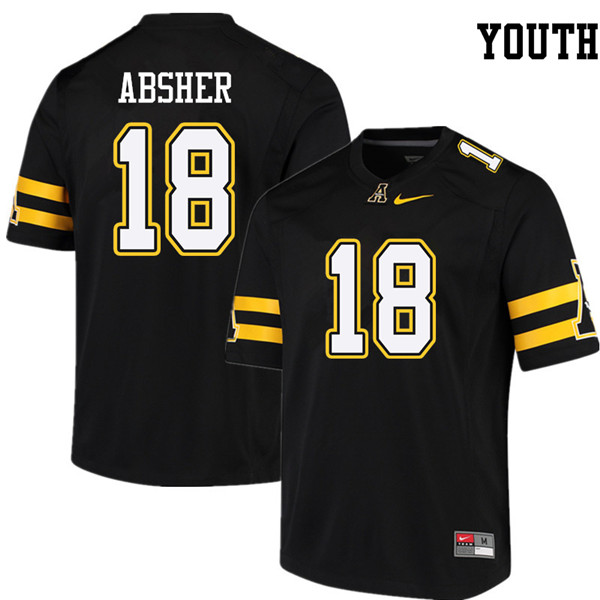Youth #18 Brad Absher Appalachian State Mountaineers College Football Jerseys Sale-Black