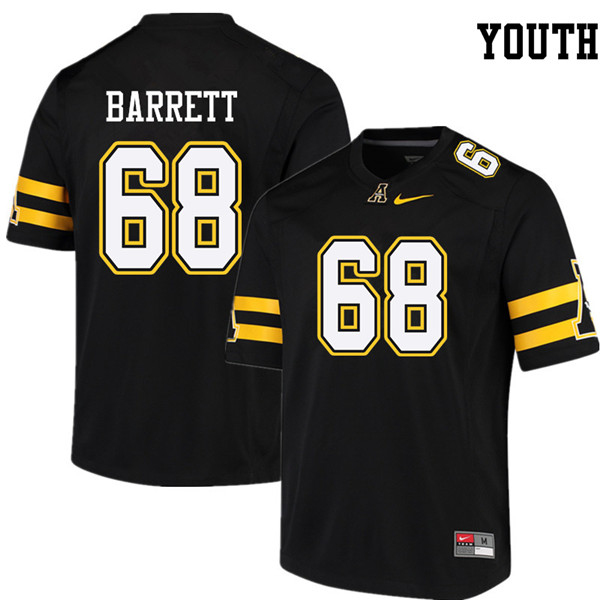 Youth #68 Brody Barrett Appalachian State Mountaineers College Football Jerseys Sale-Black