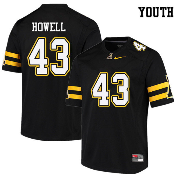 Youth #43 Clayton Howell Appalachian State Mountaineers College Football Jerseys Sale-Black