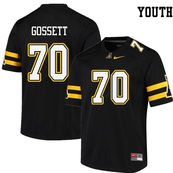 Youth #70 Colby Gossett Appalachian State Mountaineers College Football Jerseys Sale-Black