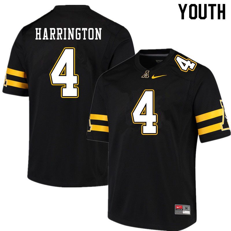 Youth #4 Daetrich Harrington Appalachian State Mountaineers College Football Jerseys Sale-Black