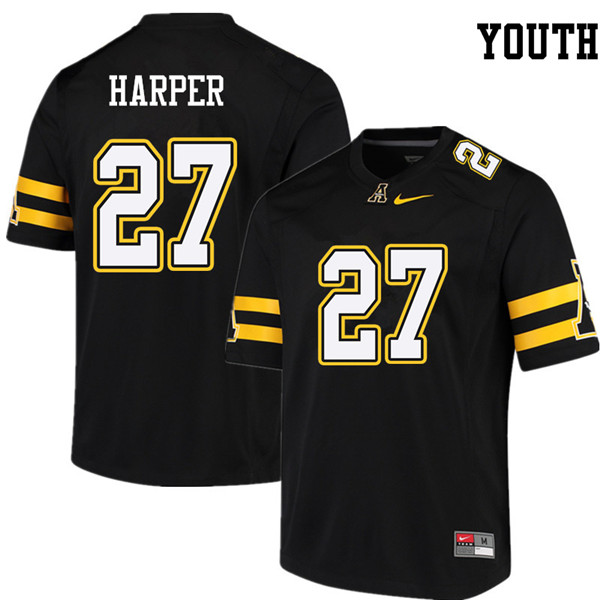 Youth #27 Demarcus Harper Appalachian State Mountaineers College Football Jerseys Sale-Black