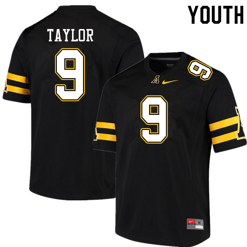 Youth #9 Demetrius Taylor Appalachian State Mountaineers College Football Jerseys Sale-Black
