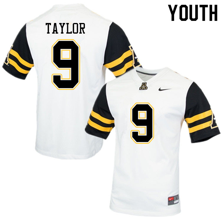 Youth #9 Demetrius Taylor Appalachian State Mountaineers College Football Jerseys Sale-White